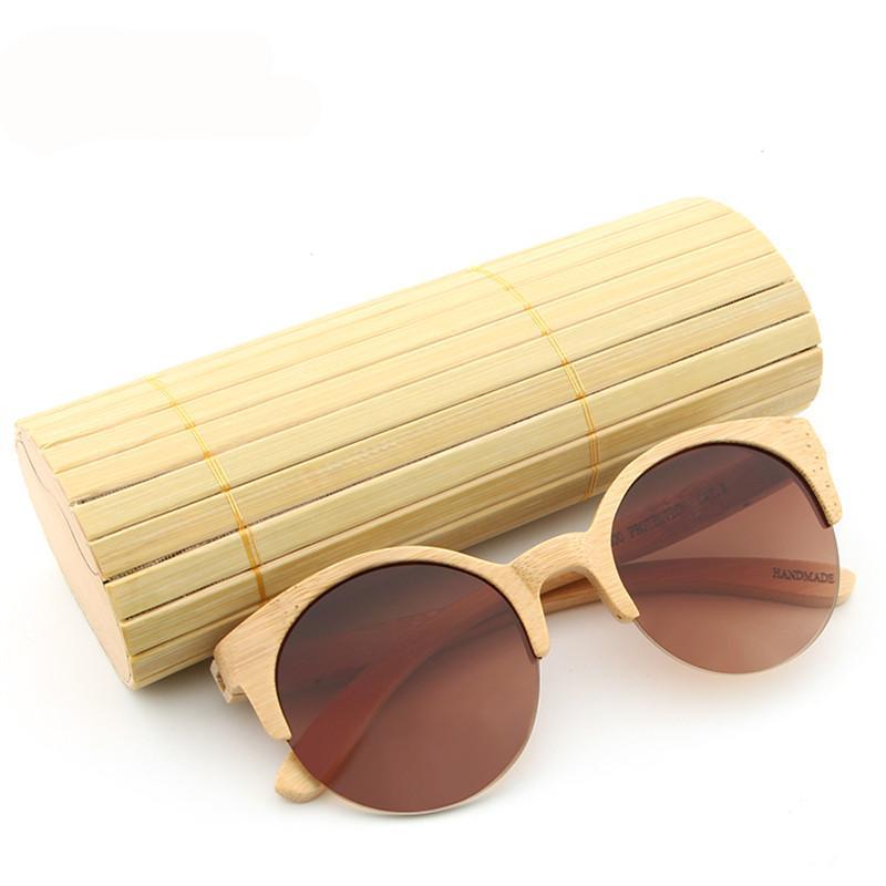 Bamboo Sunglasses Semi-Rimless R-Ban Inspired