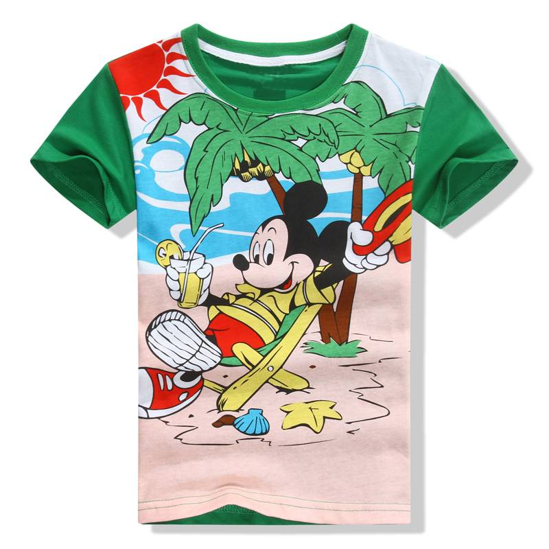 wholesale factory direct salling kids  cotton short t shirt boys mickey catoon