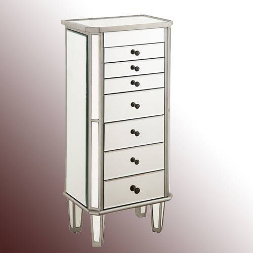 7 Drawer Mirrored Jewelry Armoire