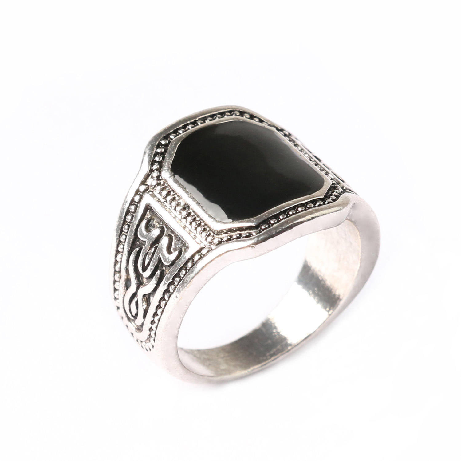 Black gem ring hollow diamond gemstone rings