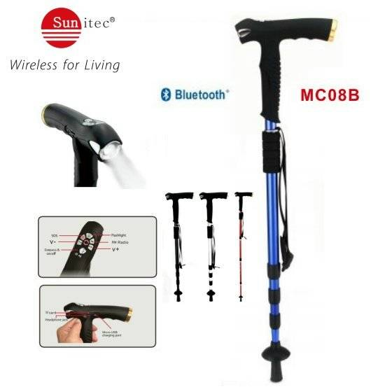 Multifunctional walking stick with MP3 LED flashlight FM Radio SOS & Bluetooth