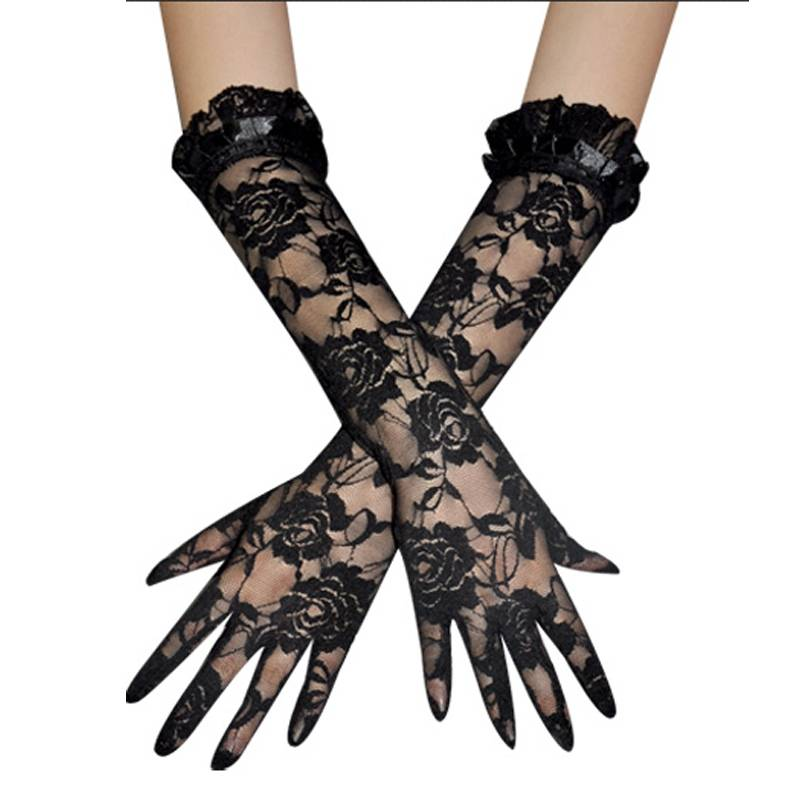 Black Long Satin Gloves Bridal Gloves