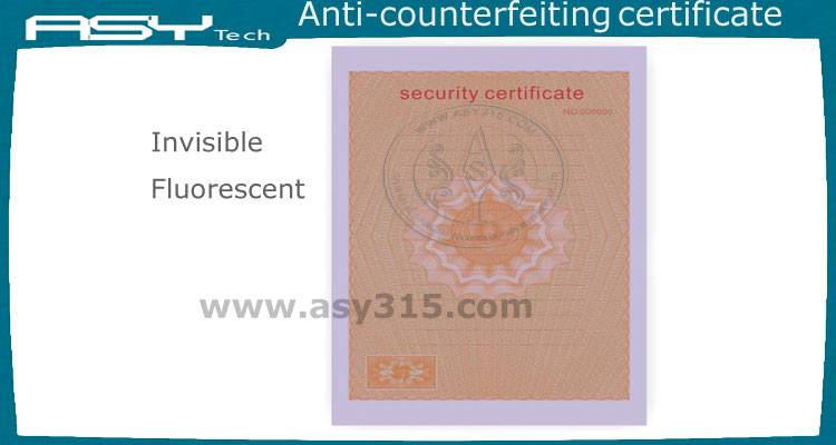 watermark fluorescence security certificate paper printing