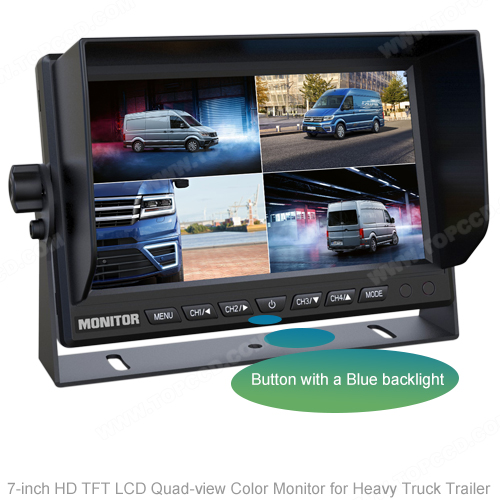 7Inch LCD Quad-view Monitor for AHD Cameras by Heavy Truck Trailer (TOP-AHD7004Q)