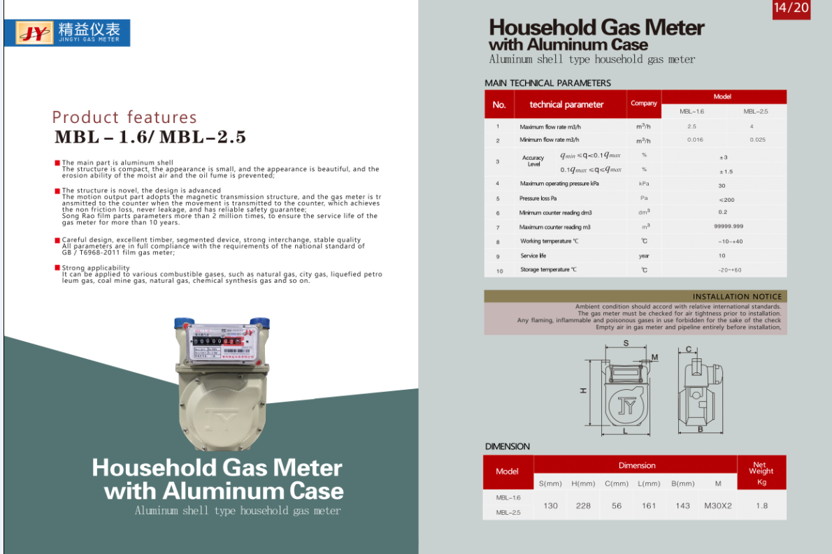 Household Gas Meter with Aluminum Case