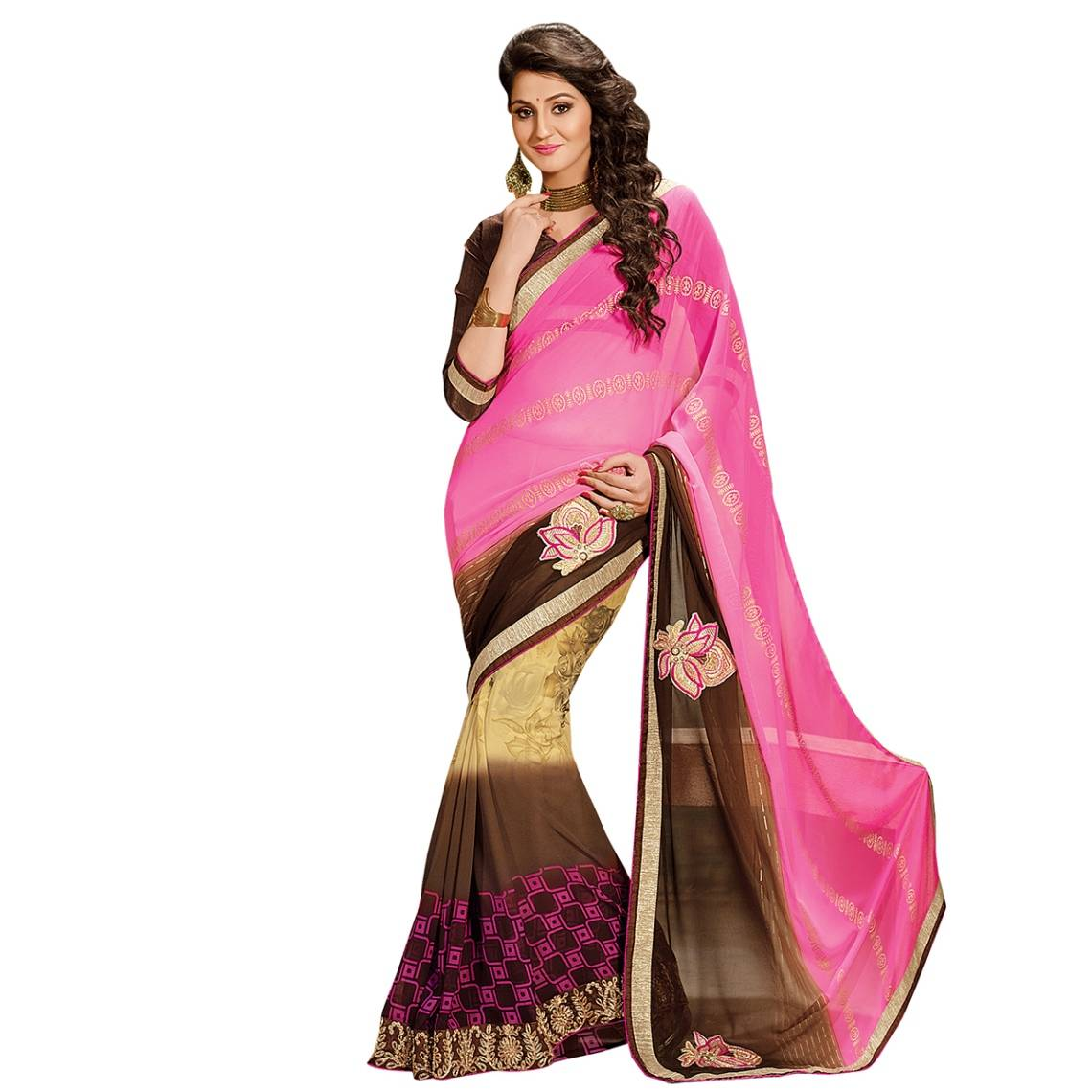 Shonaya Pink & Brown Colour Georgette Embroidered Sarees With Blouse PieceSGDN2-4868