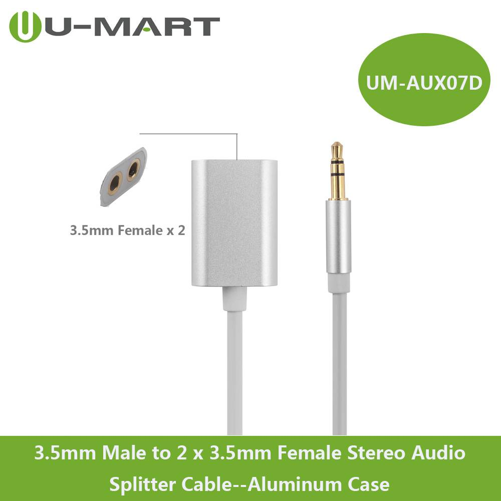 3.5mm Male to 2 x 3.5mm Female Aux Stereo Audio Splitter Cable Aluminum Case