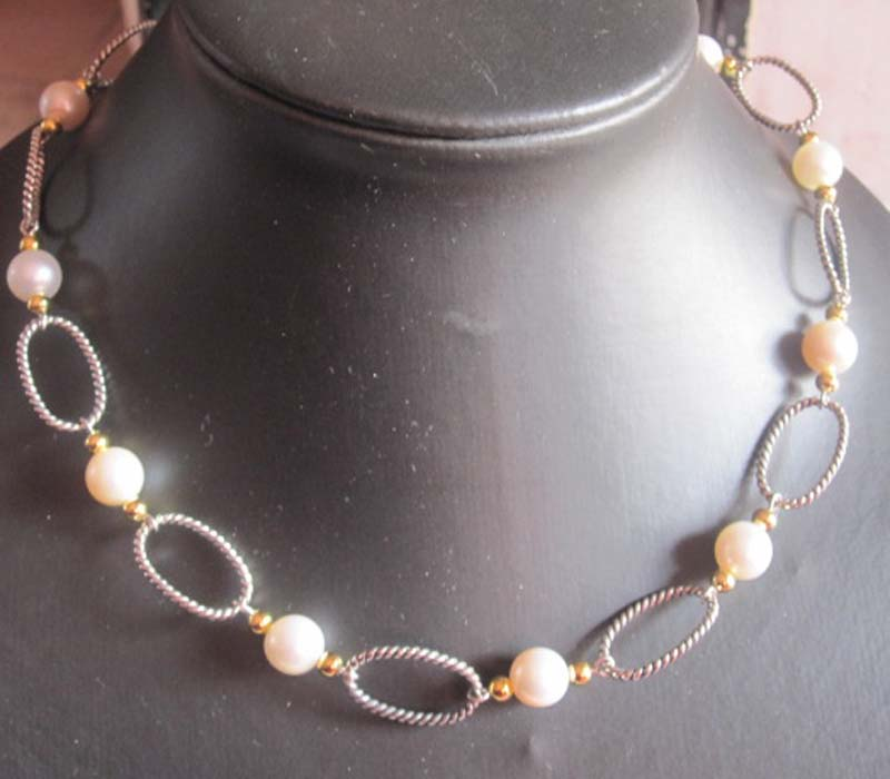 Sterling Silver Jewelry 925 Silver Chain with Pearl Necklace (N-028)