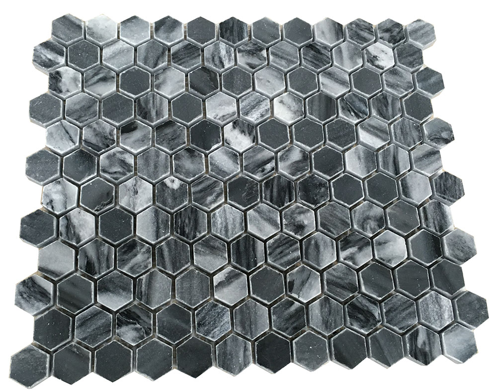 grey stone mosaic on mesh& grey stone on net