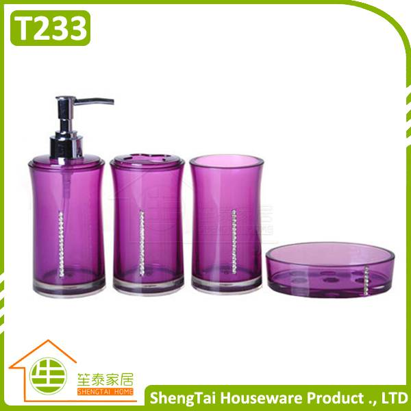 Hot Sale Elegant Diamond Decorative Round Shape Transparent European Bathroom Set