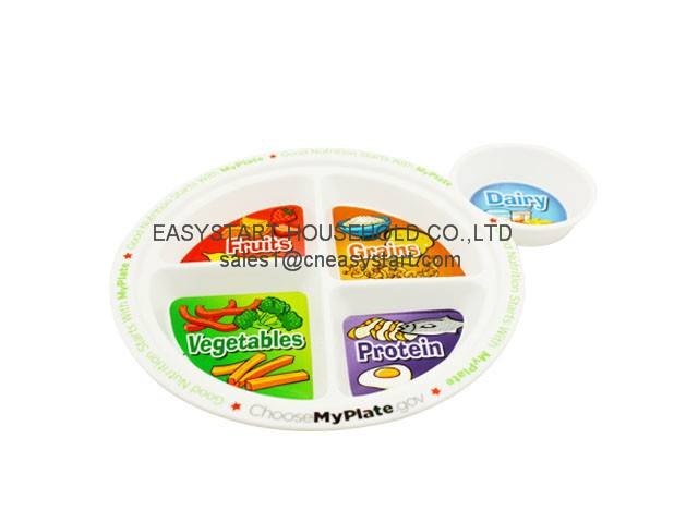 KIds food plate,divided dinner plate,BPA free plastic plate