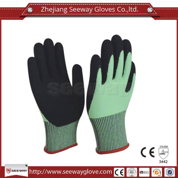 SeeWay B515 13 gauge Green HHPE Cut Resistant and Black Sandy Nitrile Dipped Work Gloves