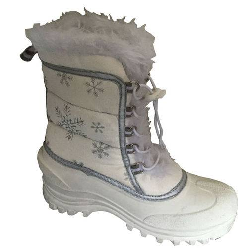 White snow nylon upper snow boots