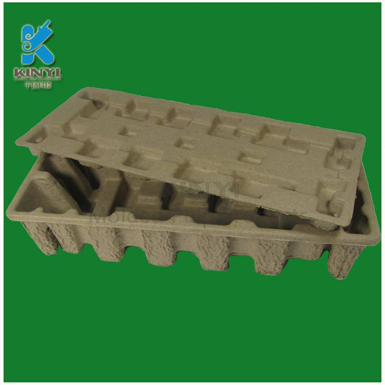 Disposable paper pulp molded packaging tray, electronic use