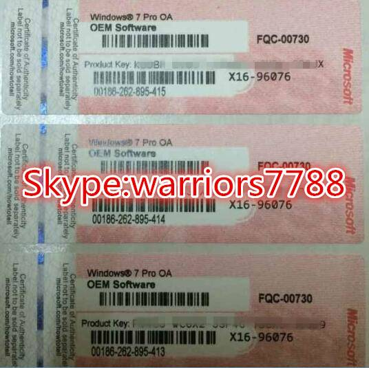 Wholesale NEW windows 7 Professional OEM COA key 100% online activation DHL free shipping.