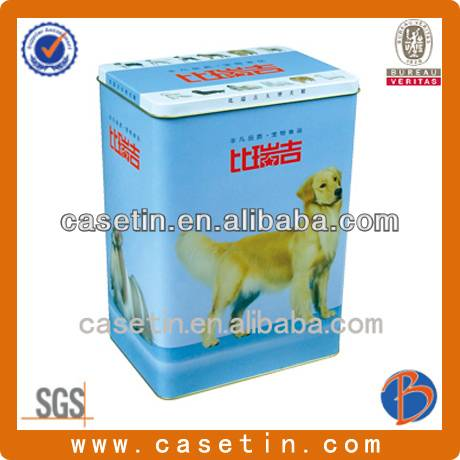 chinese manufacturer customized pet food packaging tin box with rectangular shape