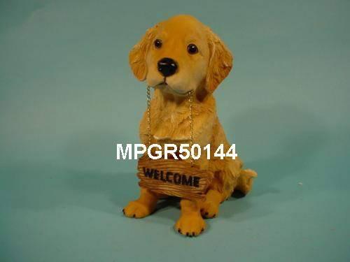 Polyresin Garden Animal Of Welcome Yellow Lab/Dog