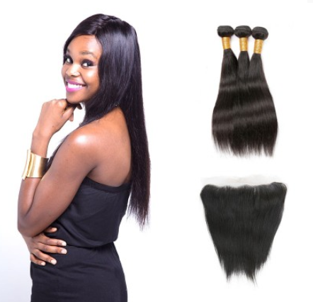 [8A]3 Bundles Malaysian Straight Hair Weave With Lace Frontal