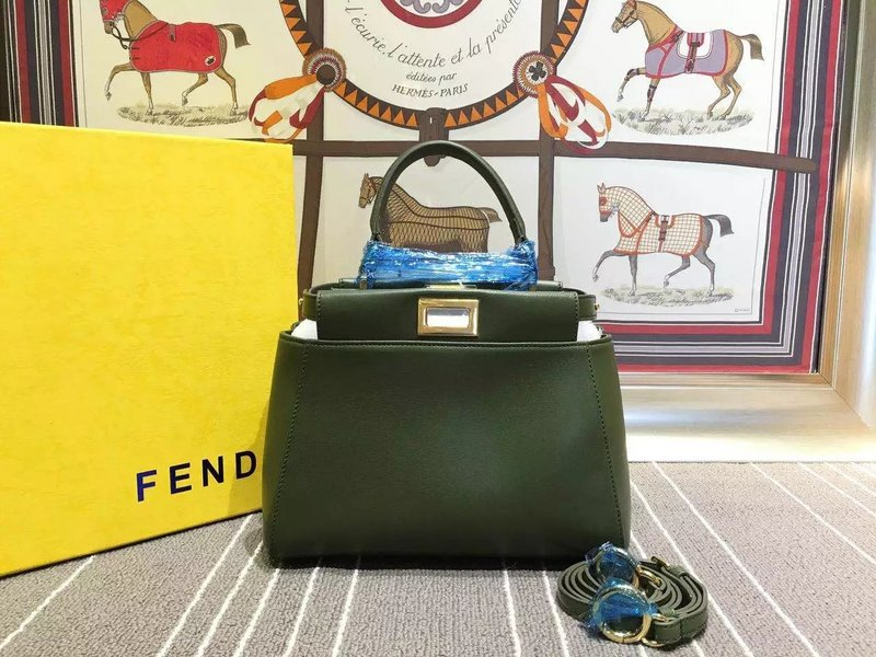 abb1cfcb Fend Peekaboo Mini Satchel Bag 224 In Dark Green Original Napa ...