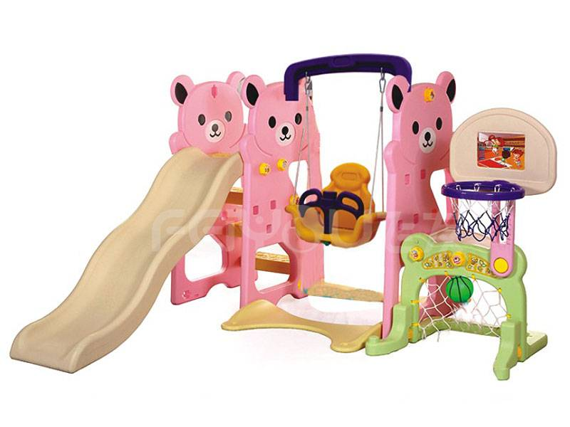 Small playground plastic slide with swing set for kids FY826303