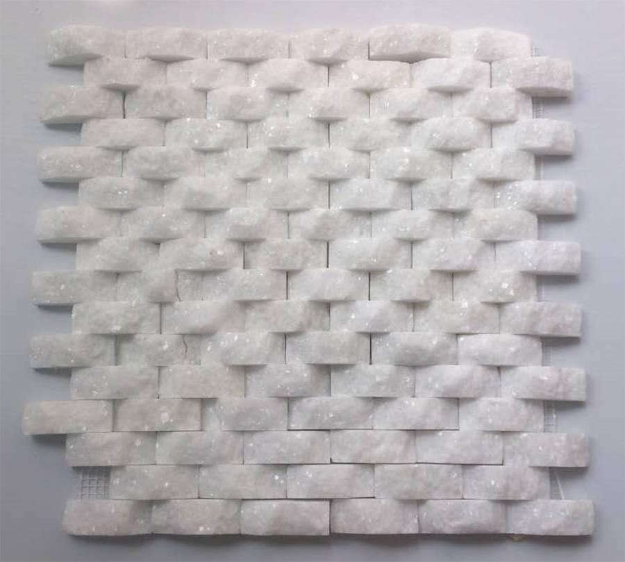 marble mosaic white splitface 3D stone mosaic tile