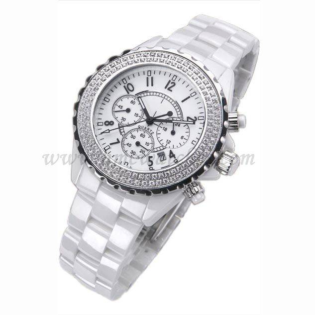 Fashion, Japan Movt, Arabic Numerals, Chronograph, Day/date, 3 ATM Water Resistant Feature And White