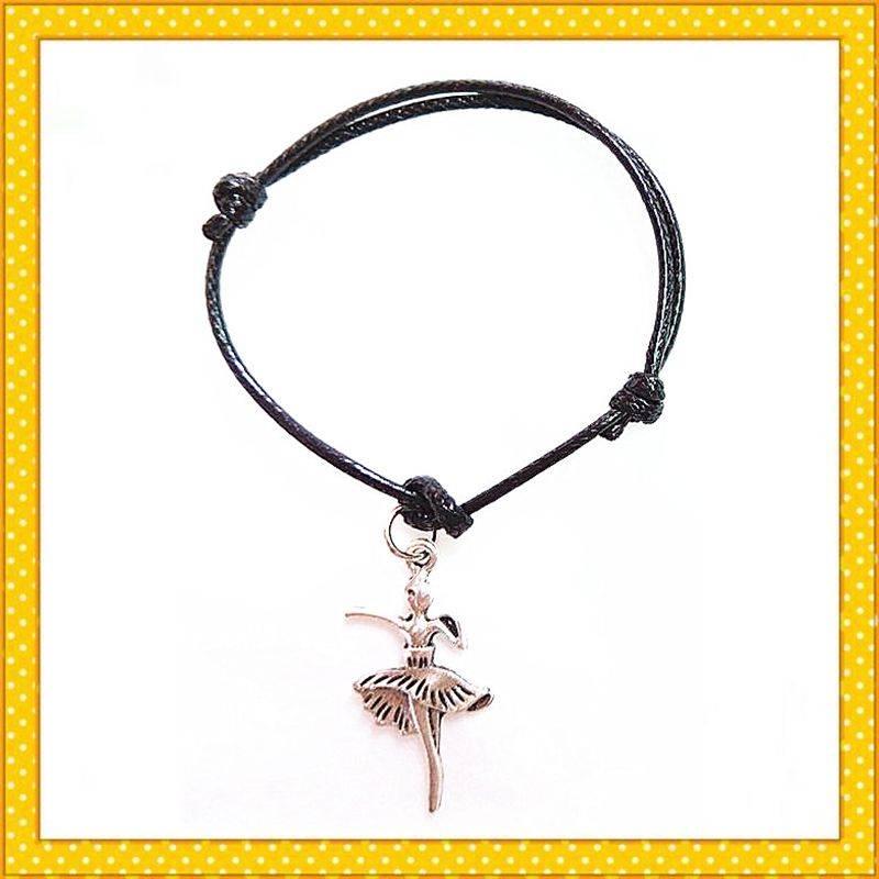ballet girl alloy charm rope pendent bracelet