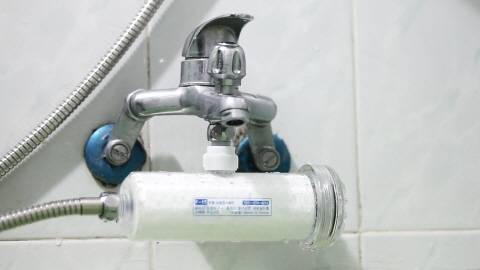 water filtering system for shower line
