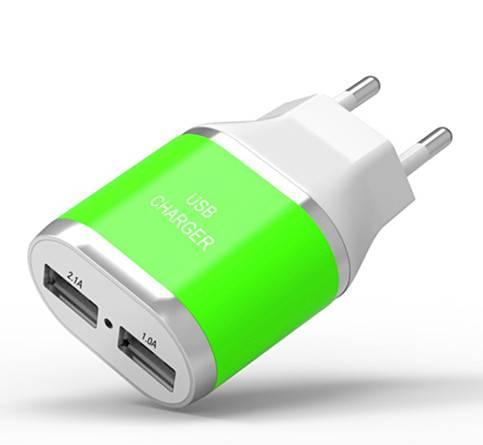 EU Wall Plug High Power 2-port USB Travel Charger, 2.4A+1.0A