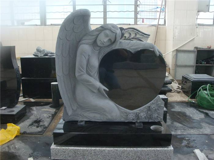 Angel headstone heart shaped monument black granite tombstone