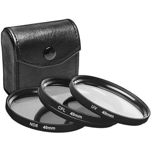 49mm UV filter, CPL filter and ND8 filter set with a case