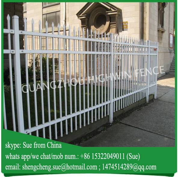Customized galvanized tubular white wrought iron fence for residence area