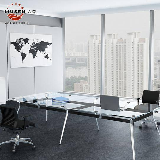 Luxury Stainless Steel Tempering Glass Surface Conference Room Table and Elegant Long Conference Tab