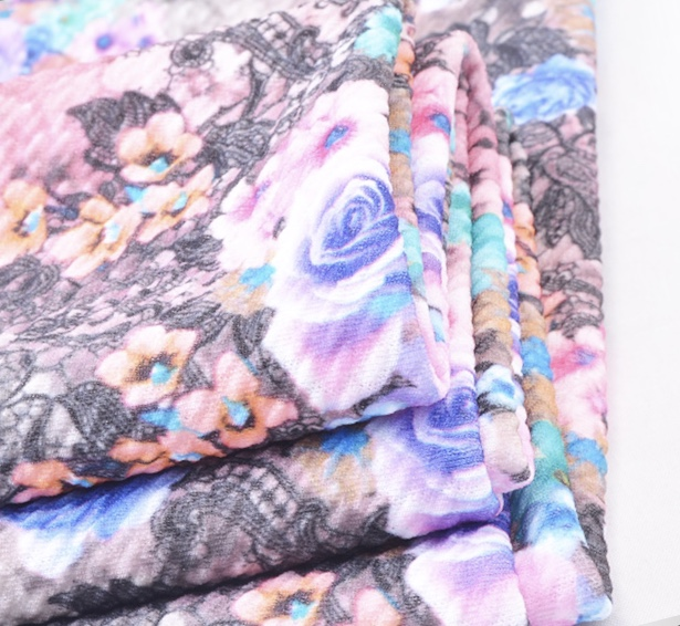 Hot sale knit polyester spandex rice jacquard digital printed fashion fabric