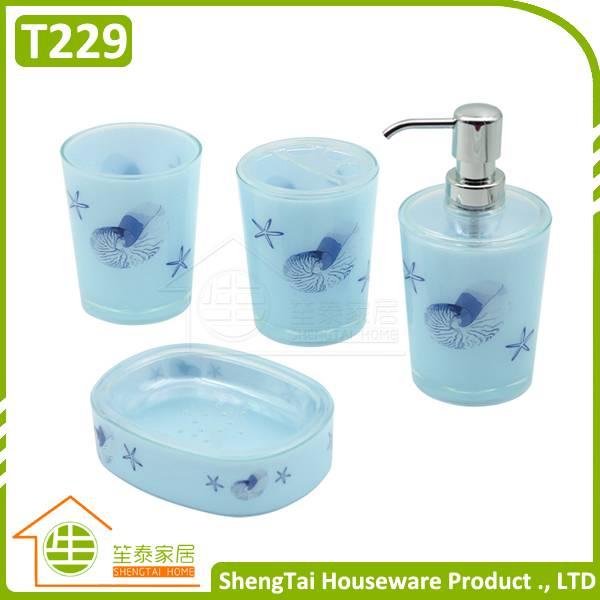Bright Color Starfish Bathroom Accessories Set Trumpet Shell Plastic Bathroom Sets