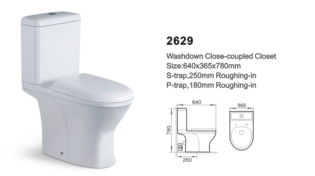 Item NO.2629 washdown two-piece toilet