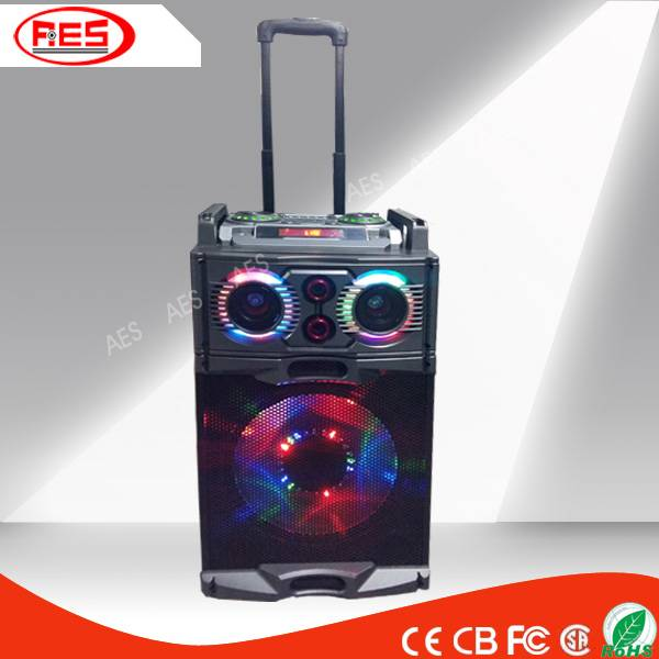 12 INCH WOODEN TROLLEY SPEAKER WITH LED LIGTH