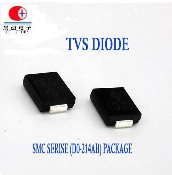 Electronic Parts 1500W 5-440V Do-214AB Case TVS Chip Rectifier Diode SMCJ33A/CA Free Samples