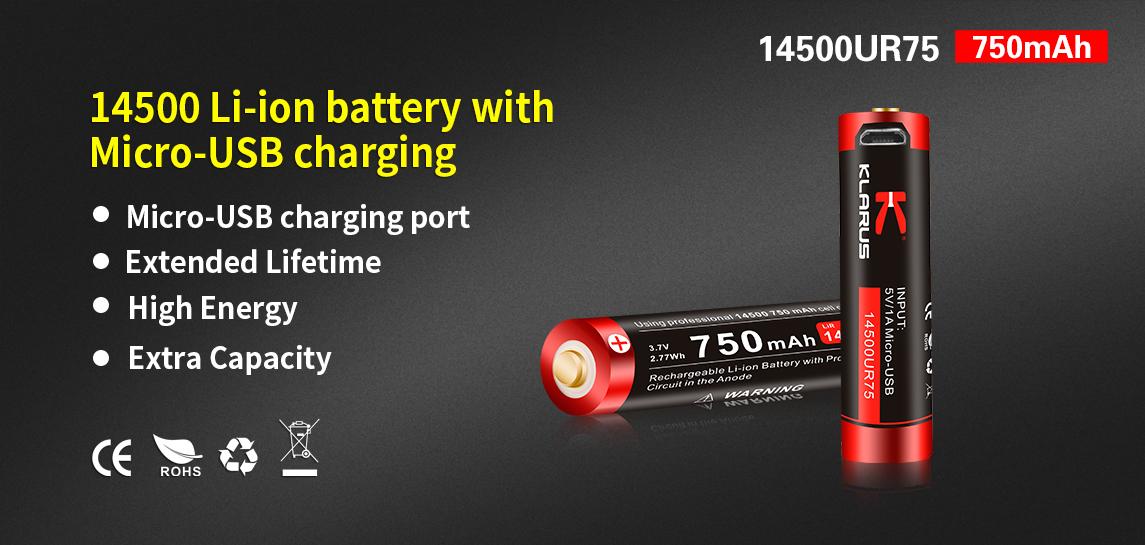 14500 Li-ion battery with Micro-USB charging-Klarus 14500UR75