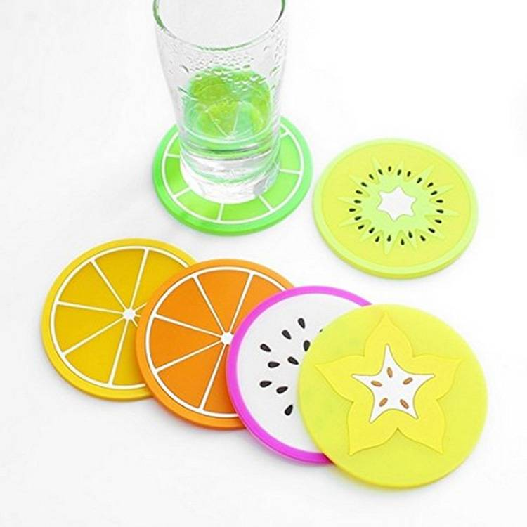 tea water cup pvc placemat pad with customized fruit logo mat