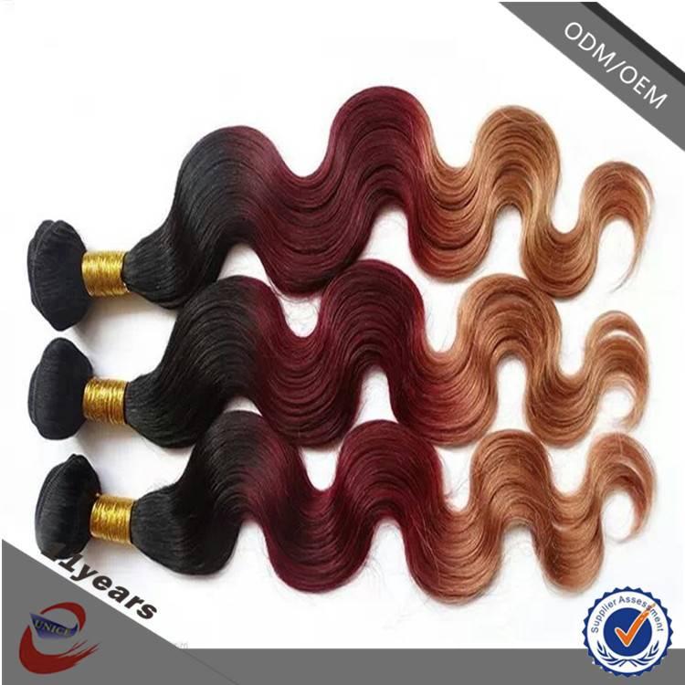100% human ombre hair braiding hair , Brazilian Sew in Human Hair Weave Ombre Hair