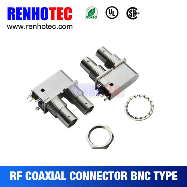 HD SDI Right Angle Double BNC female chassis PCB MOUNT