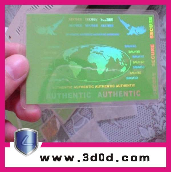 Anti-counterfeit pvc card adhesive gravure label/security hologram sticker