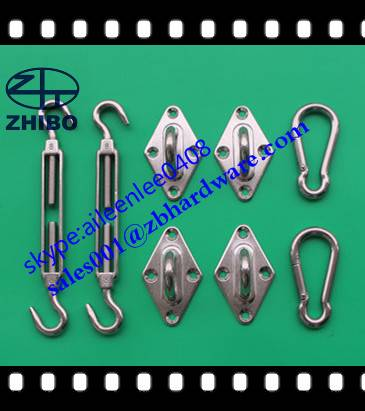 stainless steel 304 or 316 sun sail shade hardware kit with 6mm and 8mm