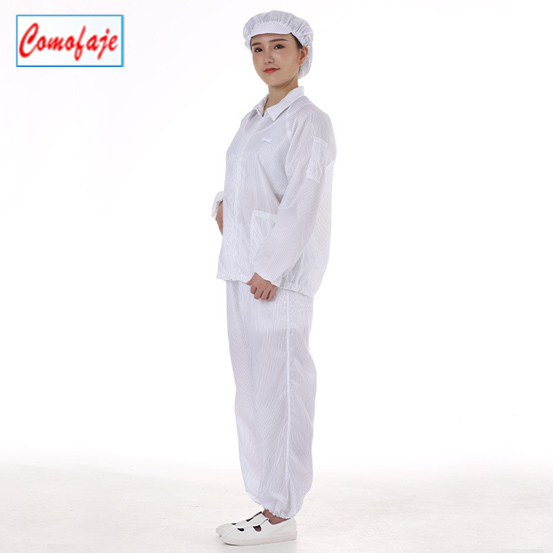 Adults ESD clean clothes suits antistatic cleanroom workwear stripe ESD cleanroom garments maker