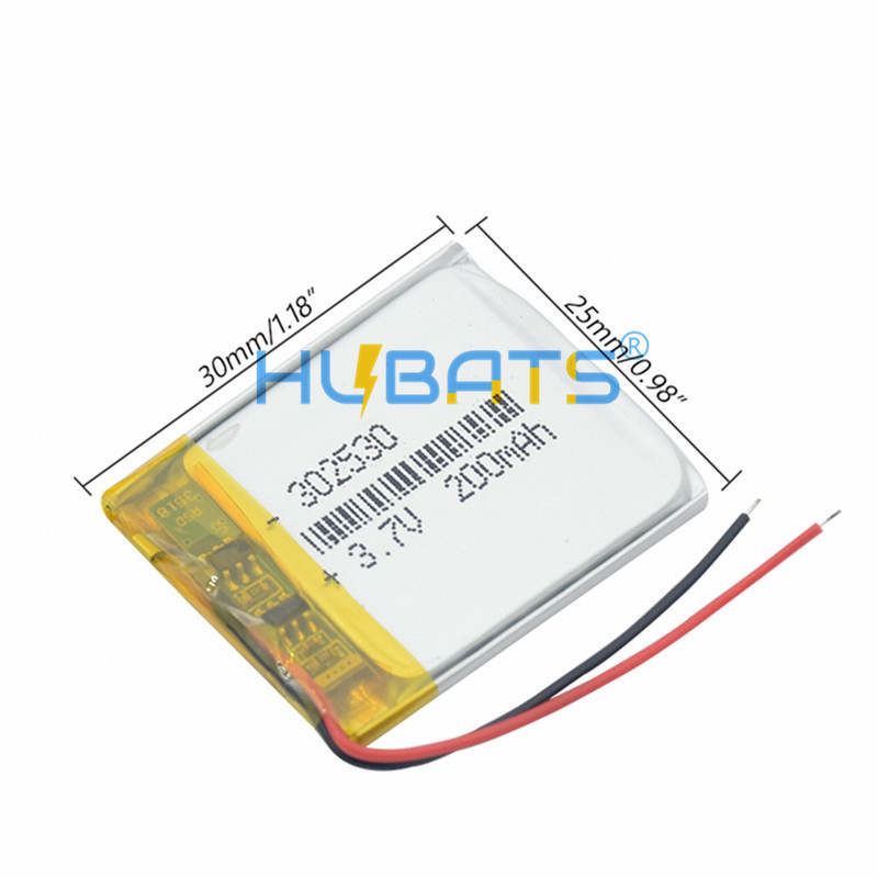 Hubats 302530 200mAh Li-ion Lithium Polymer Battery For MP4 mp3 player GPS dvr Bluetooth speaker