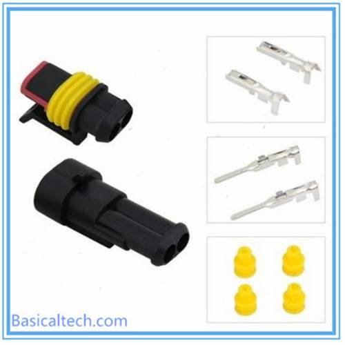 2 Pin Auto Waterproof AMP Connector 282080-1 282104-1