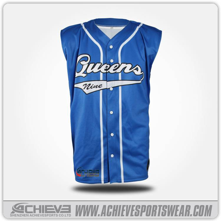 Sleeveless blue baseball jersey with 100% breathable polyester
