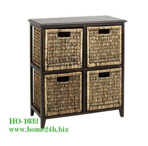 Best selling Water Hyacinth Storage Baskets Cabinets Drawers