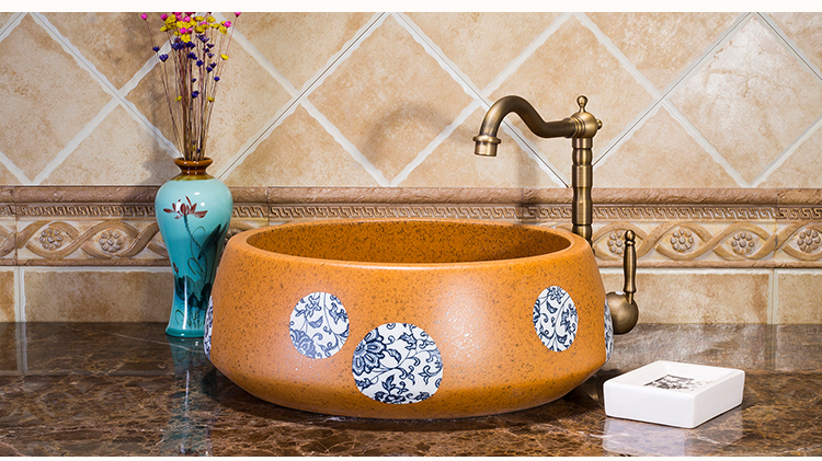 European Style Handmade High-end Classical Round Above Counter Top Bathroom Ceramic Wash Basin Sinks